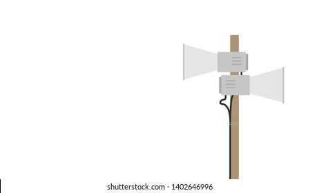 Pole megaphone. Pole megaphone vector on white background. free space for text. copy space. blank.