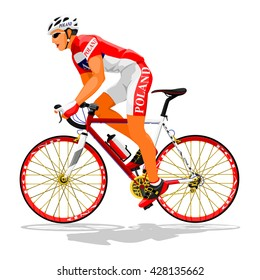 Pole road cyclist on transparent background