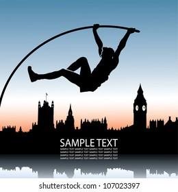 Pole vault over London skyline - vector illustration
