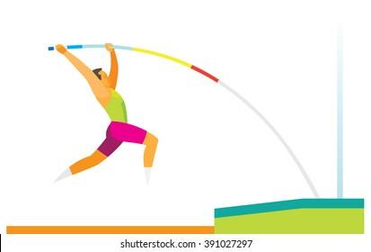 pole vaulter performs a jump