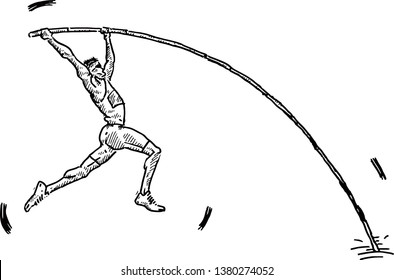 A pole vaulter planting his pole for a vault. Hand drawn vector illustration.