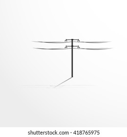 Pole with wires. Vector illustration.