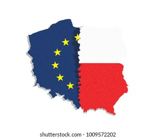 Polexit. Map /flag of Poland and European Union / EU separated from eatch other.