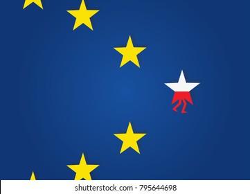 Polexit. Poland exit EU. Star with polish flag walk away from EU stars.