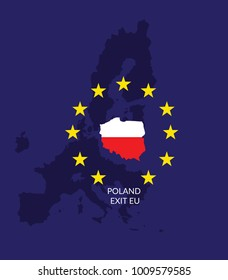 Polexit. Politycal graphic/ concept. Polish map/flag in star circle on   the background of European Union map. Poland exit EU.