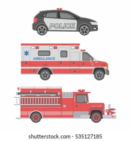 Police, Ambulance car and Fire truck