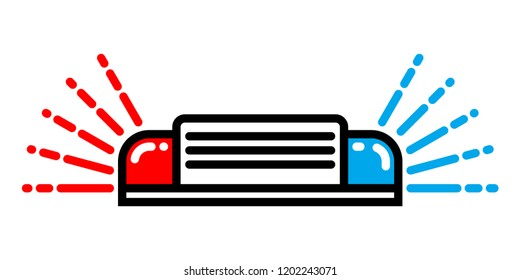 Police or ambulance red and blue flasher siren logo. Flashing alarm signal. Flat style. Flasher alert icon. Simple flat vector illustration