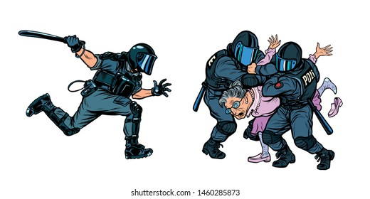 police arrested a woman retired old woman. Pop art retro vector illustration drawing