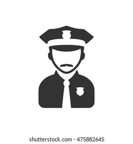 Police avatar icon in single color. People service security guard protect crime