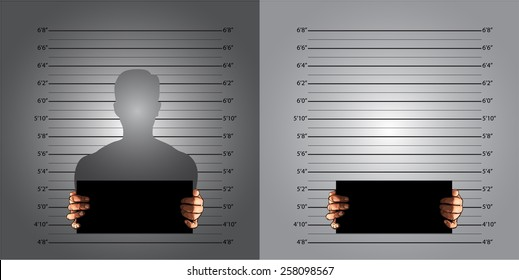Police background measuring lines mugshot in US standard and banner on two hands, vector