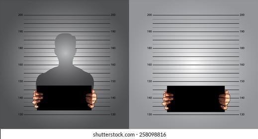 Police background measuring lines mugshot in international decimal standard and banner on two hands, vector