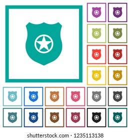 Police badge flat color icons with quadrant frames on white background