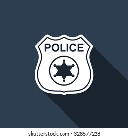 Police badge flat icon with long shadow. Vector Illustration