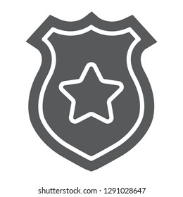 Police badge glyph icon, police and sheriff, officer badge sign, vector graphics, a solid pattern on a white background, eps 10.