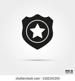 Police badge glyph icon vector. Law enforcement and criminal justice symbol.