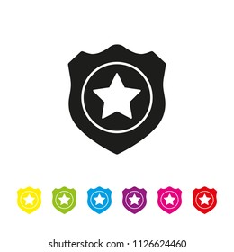 Police badge glyph icon vector. Law enforcement and criminal justice symbol.