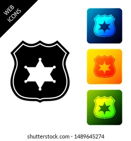 Police badge icon isolated on white background. Sheriff badge sign. Set icons colorful square buttons. Vector Illustration