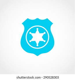 Police Badge Icon Isolated on White Background
