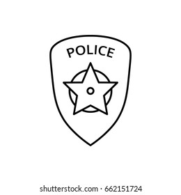 Police badge icon. Line icon for web and mobile interface.