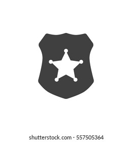 police badge icon on the white background