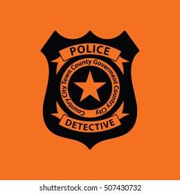 Police badge icon. Orange background with black. Vector illustration.