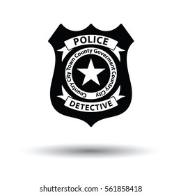 Police badge icon. White background with shadow design. Vector illustration.