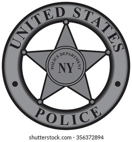 Police badge New York Police Department. Vector illustration.