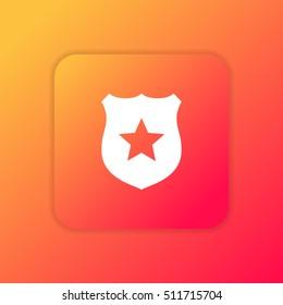 Police Badge orange bright app ui/ux Icon / Logo design