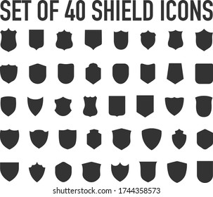 Police badge shape. 40 icons Vector military shield silhouettes. Security patches isolated on white background. Illustration shield shape protection, black security and football badge vector