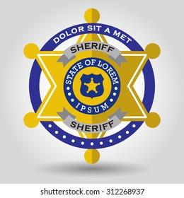 police badge with a star shape six. Vector illustration