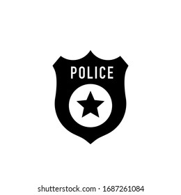 Police badge vector icon illustration isolated on black background