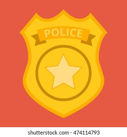 Police badge vector. Icon for web and mobile application. Flat design style.