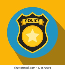 Police Badge Doodle Icon Sticker Stock Vector Royalty Free