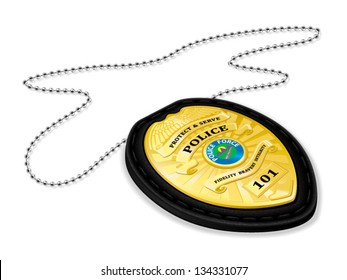 Police badge with wallet and chain detailed vector