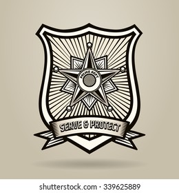 Police Badge with wording Serve and Protect. Illustration in Engraving Style . Free font used.