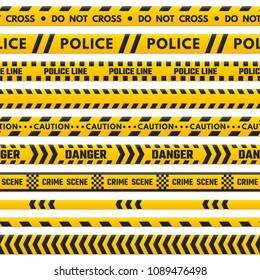 Police black and yellow line do not cross. Barricade boundary isolated by danger tape. Crime scene barrier stripes, industrial striped tape barriers vector set isolated on white background