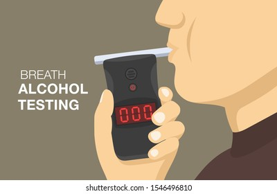 Police breath alcohol testing device. Driver blows into a tester. Flat vector illustration.