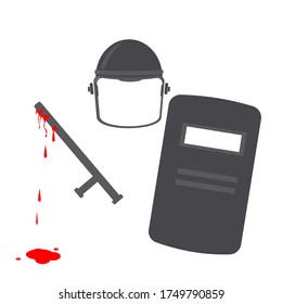 Police Brutality Corruption and Anti-Demonstration Protest Black Silhouette Vector Illustration Sign Symbol