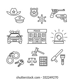 Police building, car, court and law enforcement thin line art icons set. Modern black symbols isolated on white for infographics or web use.