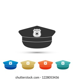 Police cap with cockade icon isolated on white background. Police hat sign. Set elements in colored icons. Flat design. Vector Illustration