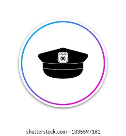 Police cap with cockade icon isolated on white background. Police hat sign. Circle white button. Vector Illustration