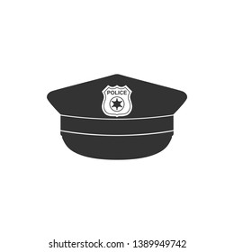 Police cap with cockade icon isolated. Police hat sign. Flat design. Vector Illustration