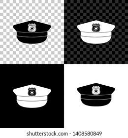 Police cap with cockade icon isolated on black, white and transparent background. Police hat sign. Vector Illustration