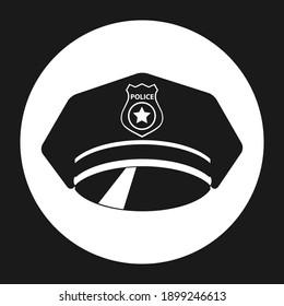 Police cap. Police cap icon. Vector illustration. Vector.