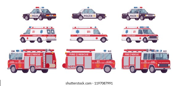 Police car, ambulance, fire truck set. Official city vehicle, alarm automobiles to help, protect and serve on road, urban emergency service. Vector flat style cartoon illustration on white background