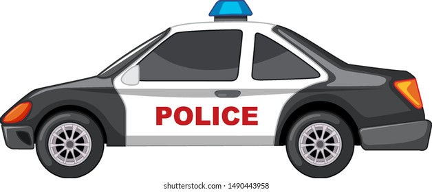Police car in black and white illustration