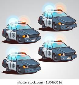 Police car cartoon character