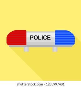 Police car flasher icon. Flat illustration of police car flasher vector icon for web design