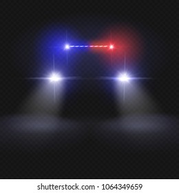 Police car headlight beams isolated on dark transparent background. Automobile at night road vector concept. Police car light, auto headlight in night illustration