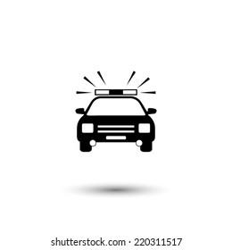 Police Car icon - black vector illustration